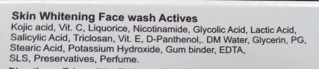ethiglo face wash ingredients