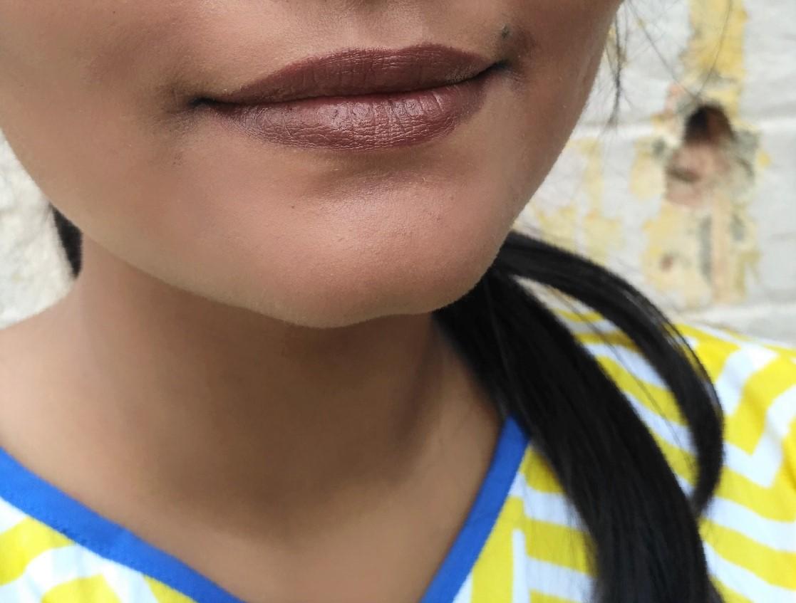 Elle 18 Color Pops Matte Lipstick Belgian Brown Review Swatches
