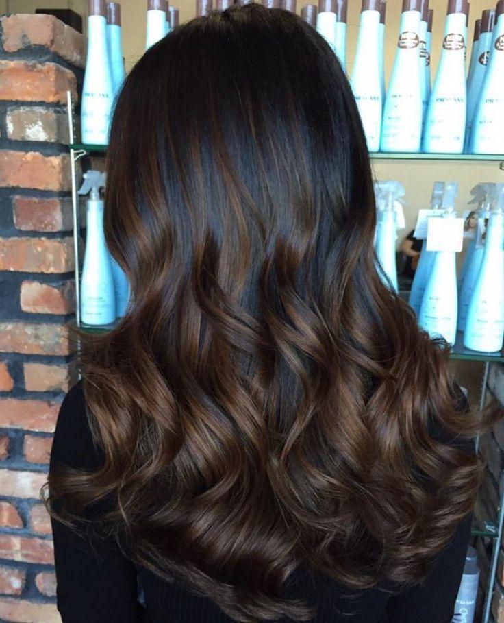 Classy Hair Color Ideas for Warm Skin Tones - Black hair with chocolatehighlights