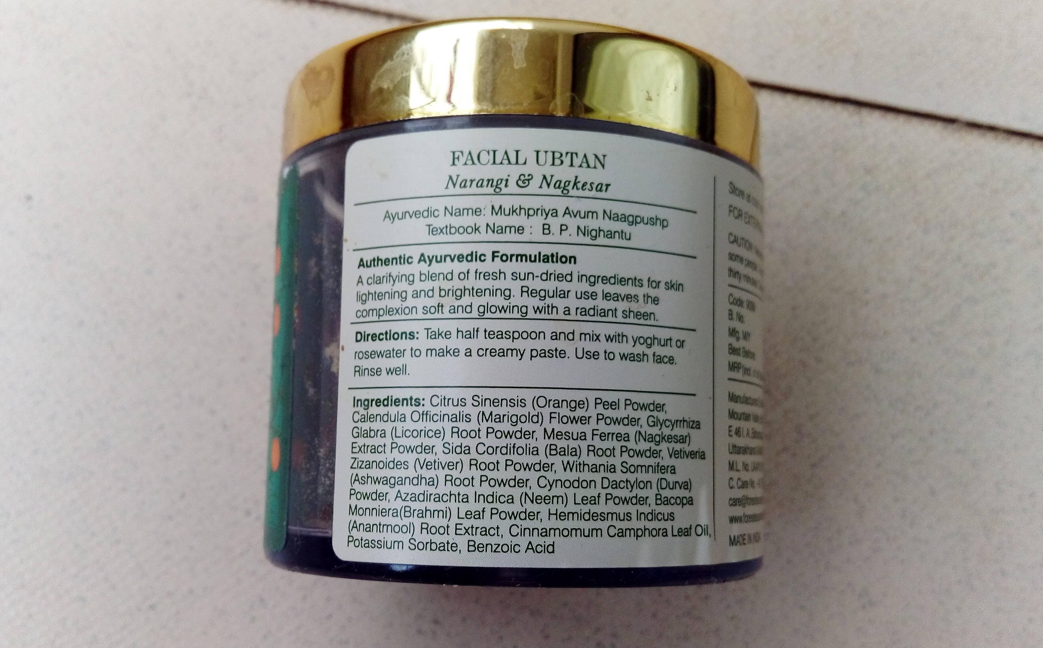 Forest Essentials Ubtan ingredients 1