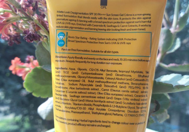 VLCC Matte Look Depigmentation Sunscreen Gel Price