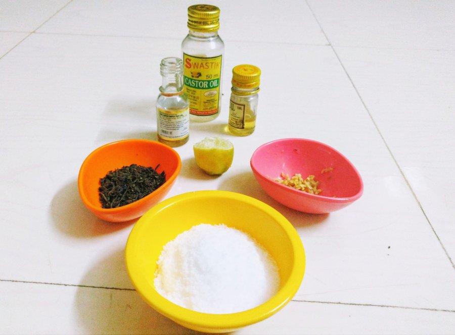 DIY Lime Green Tea Salt Face & Body Scrub ingredients