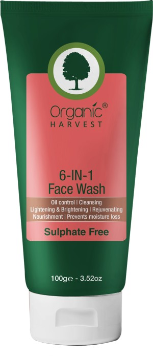 organic harvest 6 in 1 face wash