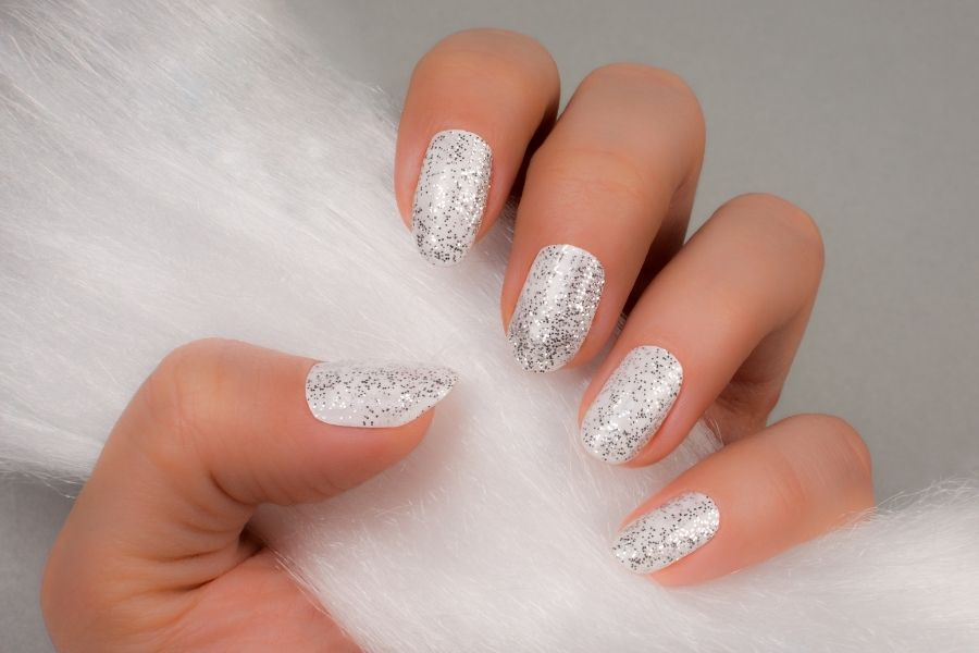 white shimmer nails